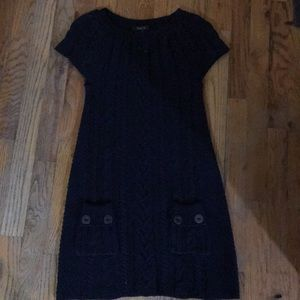 Navy blue long length, short sleeved,knitted shirt